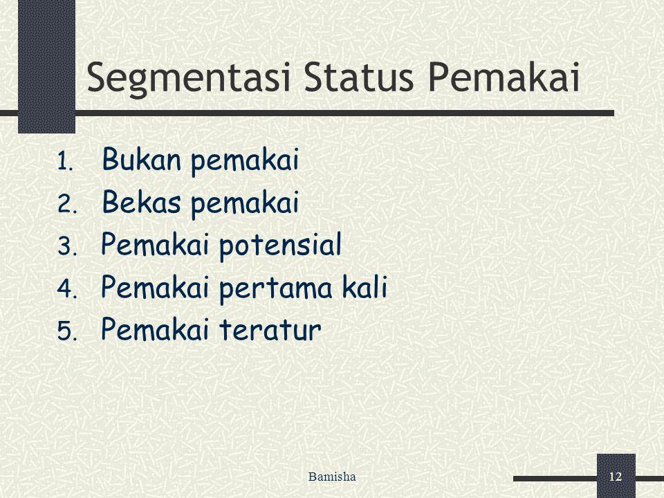 Bamisha12 Segmentasi Status Pemakai 1. Bukan pemakai 2. Bekas pemakai 3. Pemakai potensial 4. Pemakai pertama kali 5. Pemakai teratur