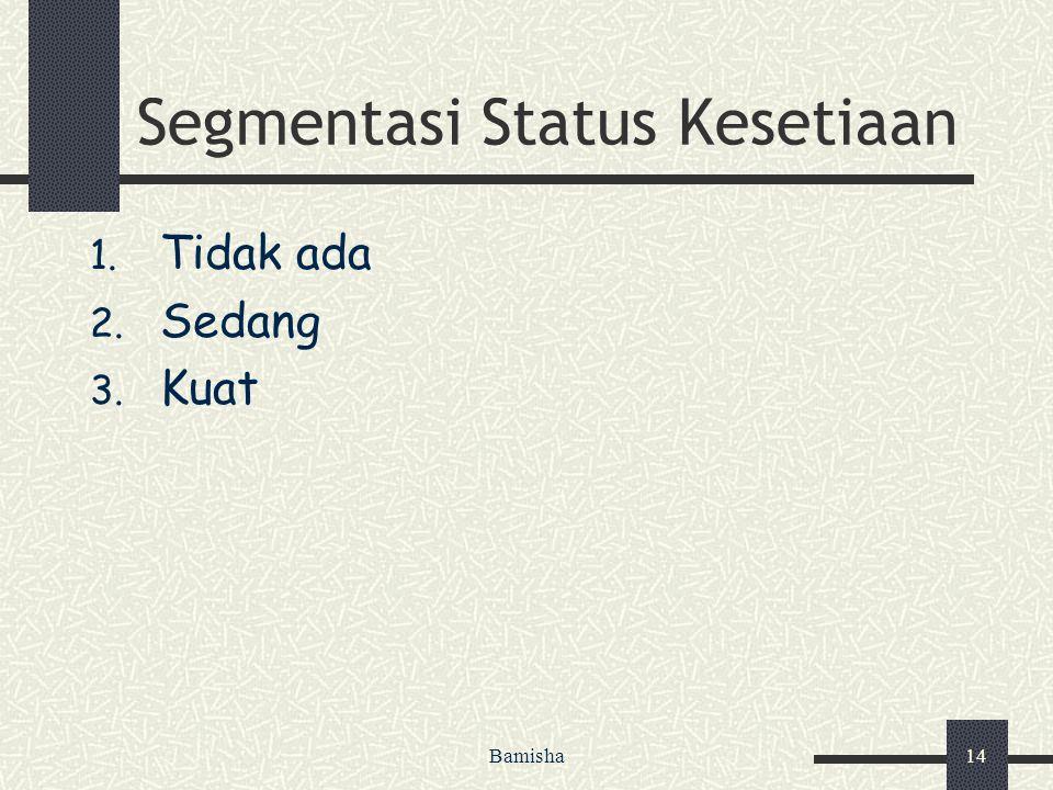 Bamisha14 Segmentasi Status Kesetiaan 1. Tidak ada 2. Sedang 3. Kuat