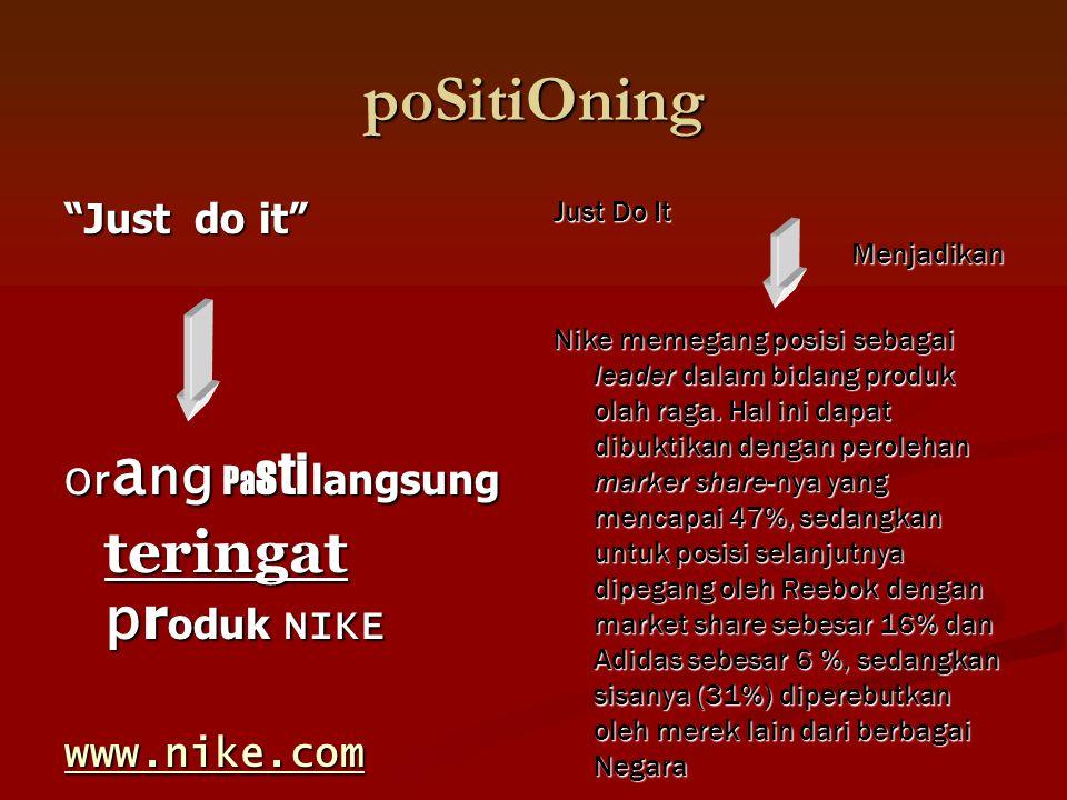poSitiOning Just do it O r a ng Pa sti langsung teringat p r oduk NIKE www.nike.com Just Do It Menjadikan Nike memegang posisi sebagai leader dalam bidang produk olah raga.