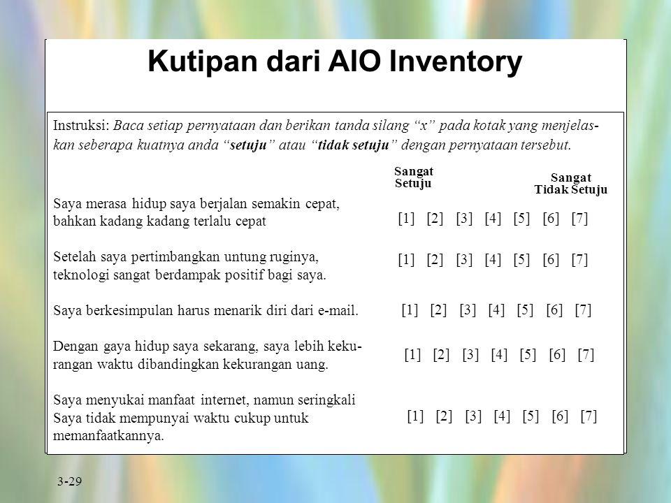 "3-29 Kutipan dari AIO Inventory Instruksi: Baca setiap pernyataan dan berikan tanda silang ""x"" pada kotak yang menjelas- kan seberapa kuatnya anda ""se"