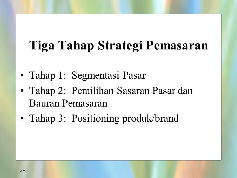 3-6 Tiga Tahap Strategi Pemasaran Tahap 1: Segmentasi Pasar Tahap 2: Pemilihan Sasaran Pasar dan Bauran Pemasaran Tahap 3: Positioning produk/brand