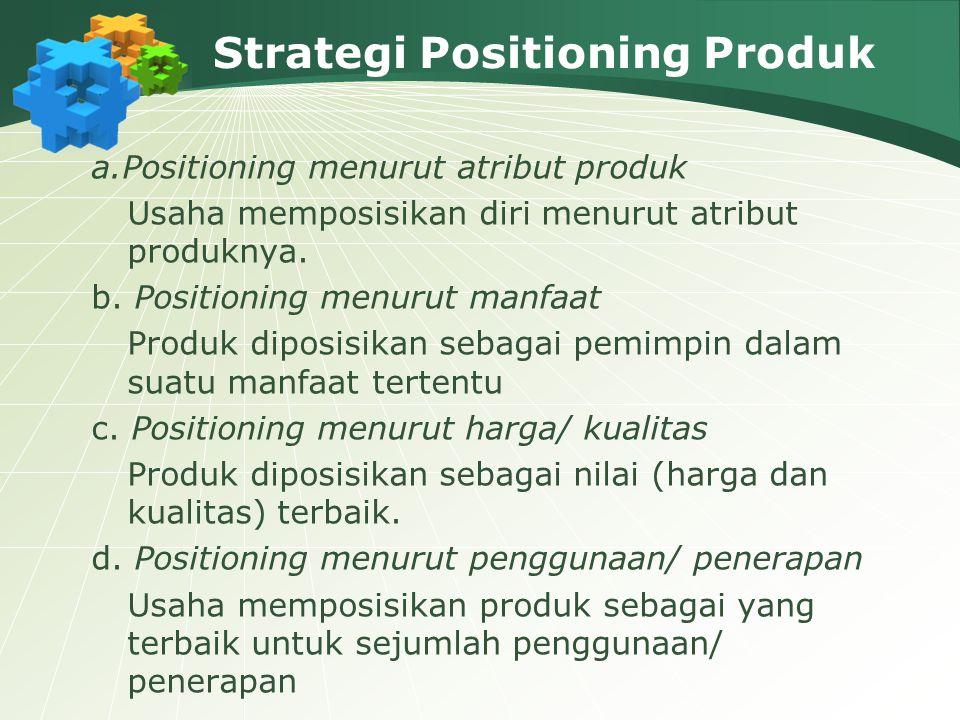Strategi Positioning Produk a.Positioning menurut atribut produk Usaha memposisikan diri menurut atribut produknya.