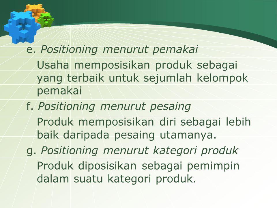 e. Positioning menurut pemakai Usaha memposisikan produk sebagai yang terbaik untuk sejumlah kelompok pemakai f. Positioning menurut pesaing Produk me