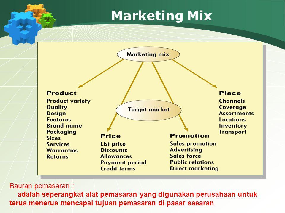 Marketing Mix Bauran pemasaran : adalah seperangkat alat pemasaran yang digunakan perusahaan untuk terus menerus mencapai tujuan pemasaran di pasar sasaran.