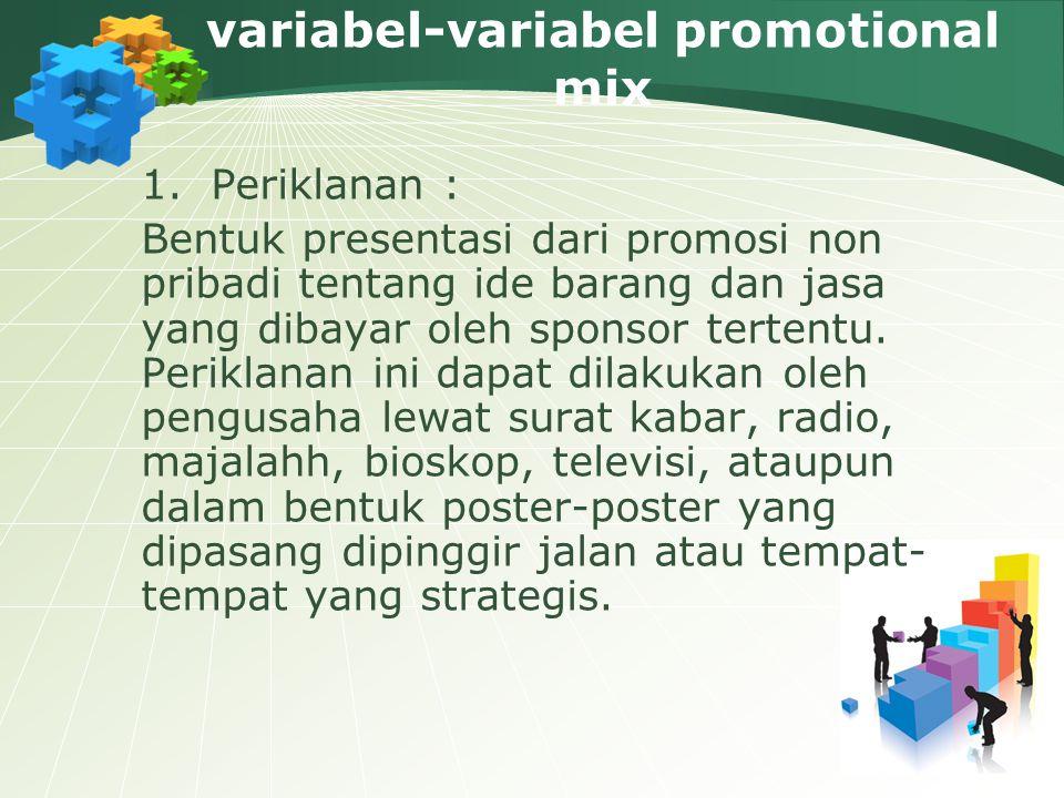 variabel-variabel promotional mix 1.