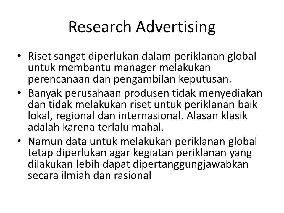 Research Advertising Riset sangat diperlukan dalam periklanan global untuk membantu manager melakukan perencanaan dan pengambilan keputusan.
