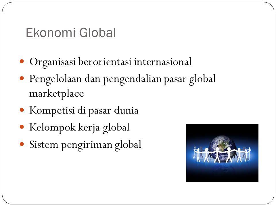 Ekonomi Global Organisasi berorientasi internasional Pengelolaan dan pengendalian pasar global marketplace Kompetisi di pasar dunia Kelompok kerja global Sistem pengiriman global