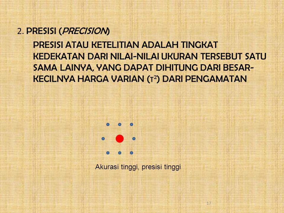2. PRESISI (PRECISION) PRESISI ATAU KETELITIAN ADALAH TINGKAT KEDEKATAN DARI NILAI-NILAI UKURAN TERSEBUT SATU SAMA LAINYA, YANG DAPAT DIHITUNG DARI BE