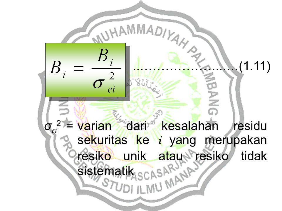 ..………………...…(1.11) σ ei 2 =varian dari kesalahan residu sekuritas ke i yang merupakan resiko unik atau resiko tidak sistematik
