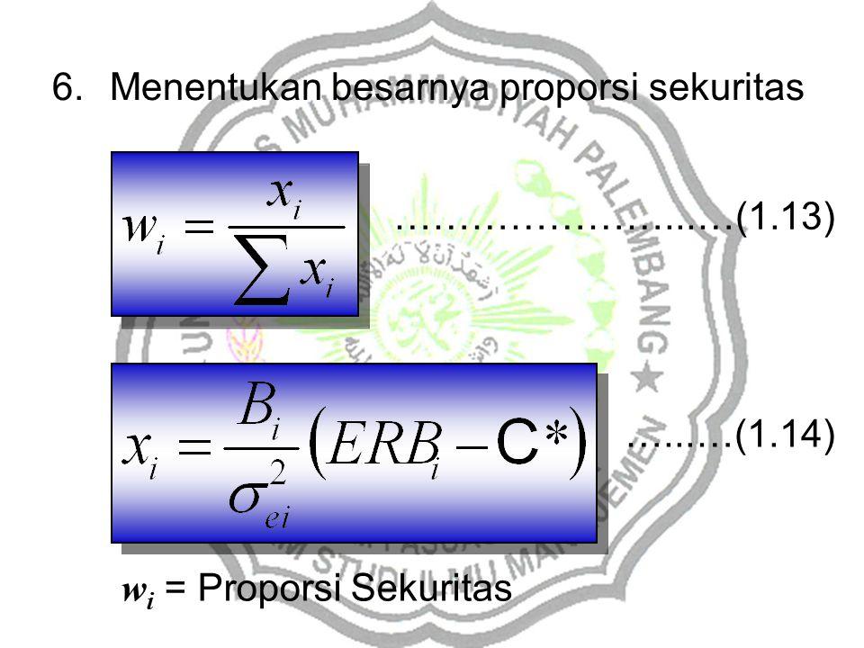 6.Menentukan besarnya proporsi sekuritas w i = Proporsi Sekuritas …………………...…(1.13) …...…(1.14)