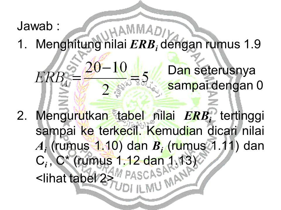 Jawab : 1.Menghitung nilai ERB i dengan rumus 1.9 2.Mengurutkan tabel nilai ERB i tertinggi sampai ke terkecil. Kemudian dicari nilai A i (rumus 1.10)