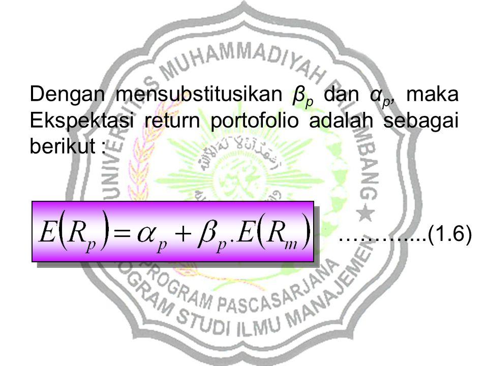 Dengan mensubstitusikan β p dan α p, maka Ekspektasi return portofolio adalah sebagai berikut : ………....(1.6)