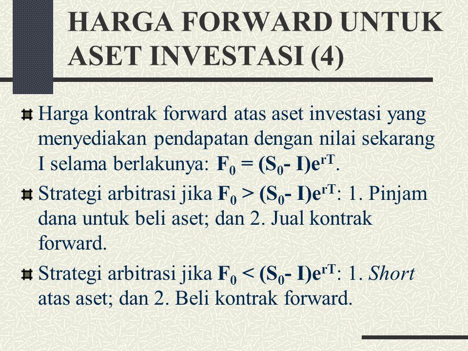 HARGA FORWARD UNTUK ASET INVESTASI (3) Strategi jika F 0 > S 0 e rT : 1. Jual emas untuk men- dapat S 0 ; 2. Investasikan S 0 pada tingkat bunga r sel