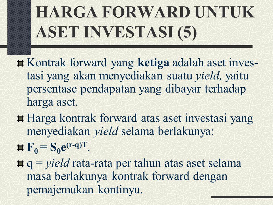 HARGA FORWARD UNTUK ASET INVESTASI (4) Harga kontrak forward atas aset investasi yang menyediakan pendapatan dengan nilai sekarang I selama berlakunya