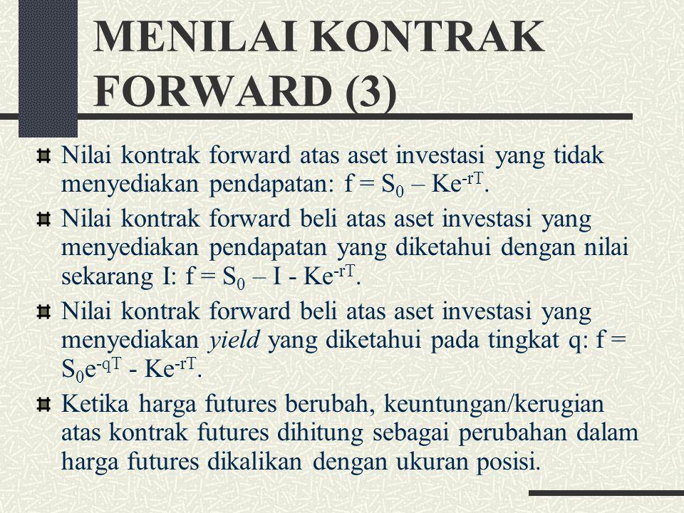 MENILAI KONTRAK FORWARD (2) Persamaan ini mengasumsikan bahwa harga aset pada maturitas kontrak forward = harga forward. Nilai kontrak forward jual de