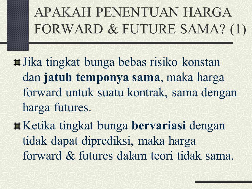 MENILAI KONTRAK FORWARD (3) Nilai kontrak forward atas aset investasi yang tidak menyediakan pendapatan: f = S 0 – Ke -rT. Nilai kontrak forward beli
