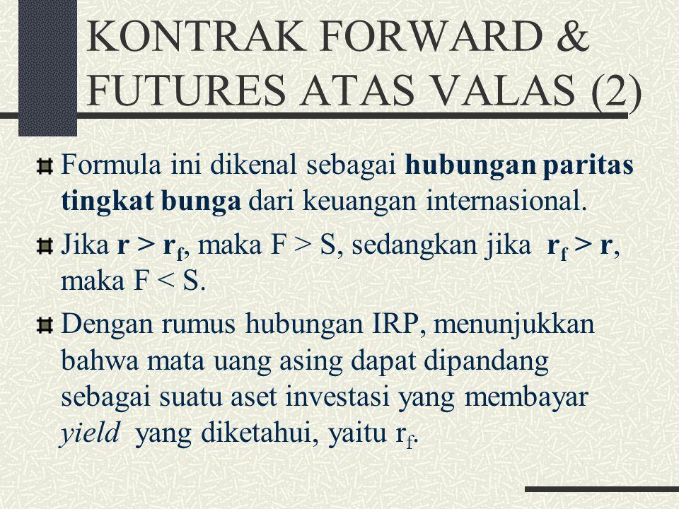 KONTRAK FORWARD & FUTURES ATAS VALAS (1) Suatu mata uang asing mempunyai sifat bahwa pemegang mata uang tersebut dapat memperoleh bunga pada tingkat b