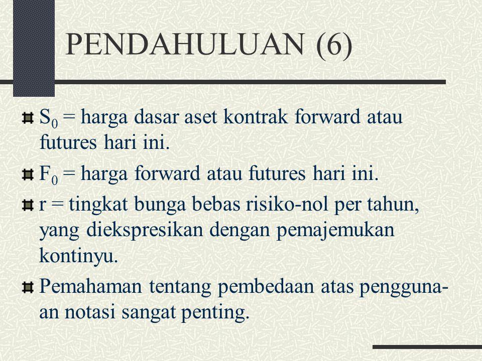 PENDAHULUAN (6) S 0 = harga dasar aset kontrak forward atau futures hari ini.