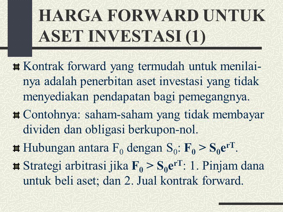 HARGA FORWARD UNTUK ASET INVESTASI (1) Kontrak forward yang termudah untuk menilai- nya adalah penerbitan aset investasi yang tidak menyediakan pendapatan bagi pemegangnya.