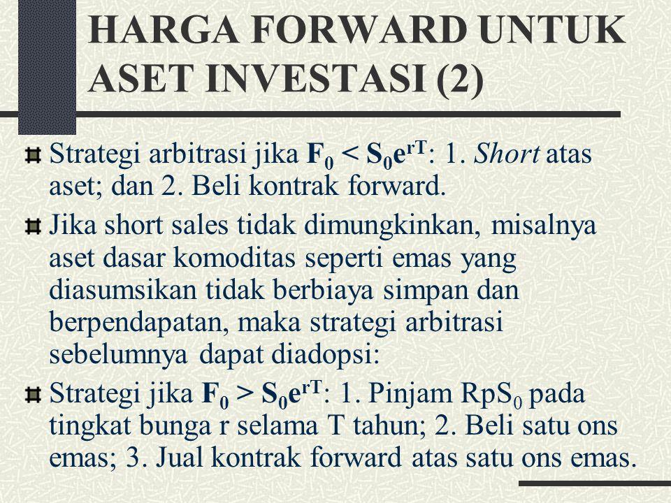 HARGA FORWARD UNTUK ASET INVESTASI (2) Strategi arbitrasi jika F 0 < S 0 e rT : 1.