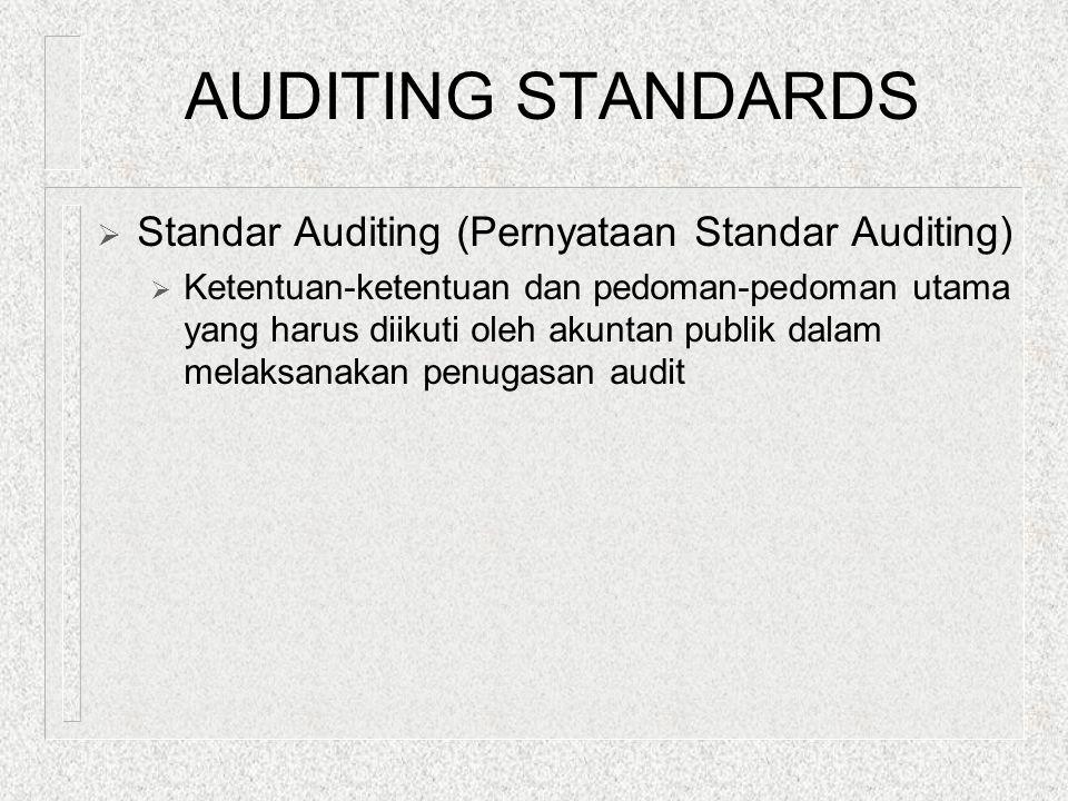 AUDITING STANDARDS  Standar Auditing (Pernyataan Standar Auditing)  Ketentuan-ketentuan dan pedoman-pedoman utama yang harus diikuti oleh akuntan pu