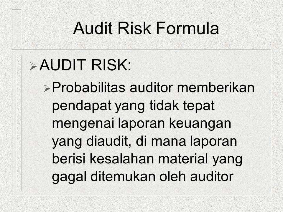  AUDIT RISK:  Probabilitas auditor memberikan pendapat yang tidak tepat mengenai laporan keuangan yang diaudit, di mana laporan berisi kesalahan mat