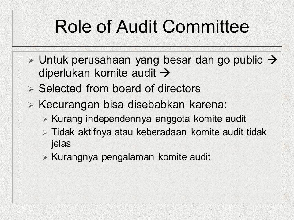 Role of Audit Committee  Untuk perusahaan yang besar dan go public  diperlukan komite audit   Selected from board of directors  Kecurangan bisa d