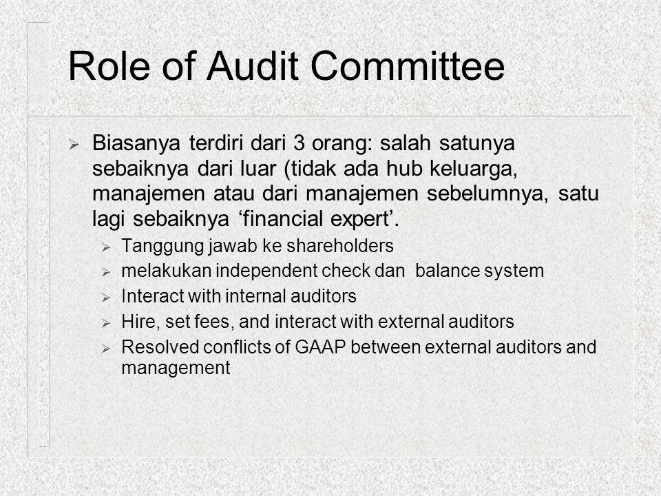 Role of Audit Committee  Biasanya terdiri dari 3 orang: salah satunya sebaiknya dari luar (tidak ada hub keluarga, manajemen atau dari manajemen sebe