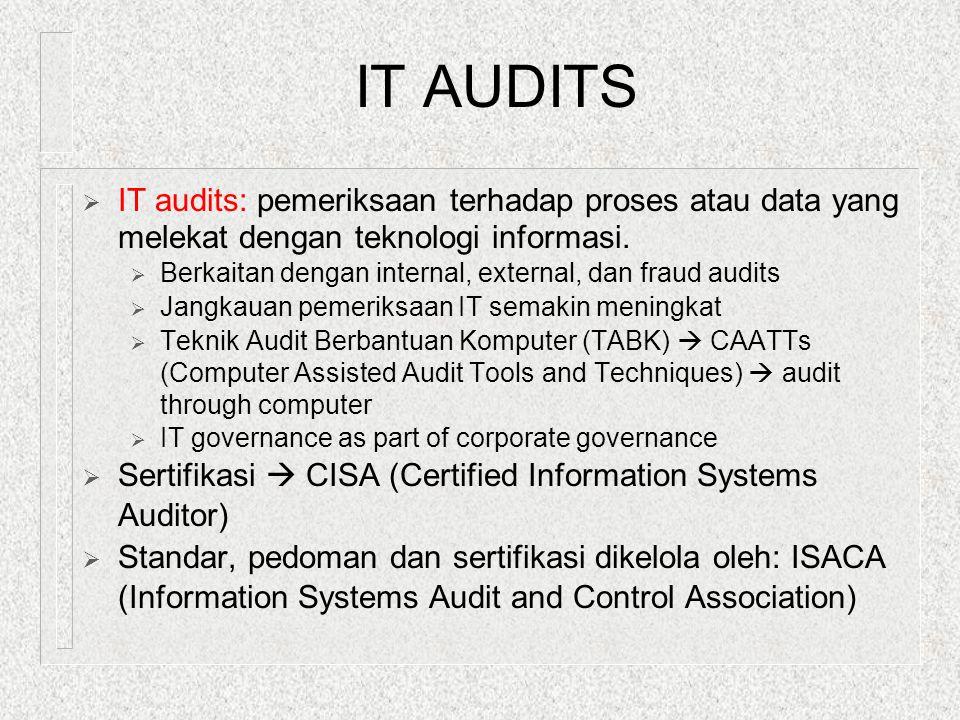 IT AUDITS  IT audits: pemeriksaan terhadap proses atau data yang melekat dengan teknologi informasi.  Berkaitan dengan internal, external, dan fraud
