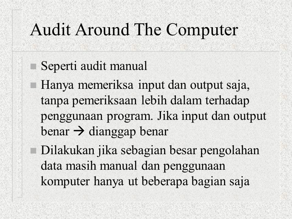 Audit Around The Computer n Seperti audit manual n Hanya memeriksa input dan output saja, tanpa pemeriksaan lebih dalam terhadap penggunaan program. J