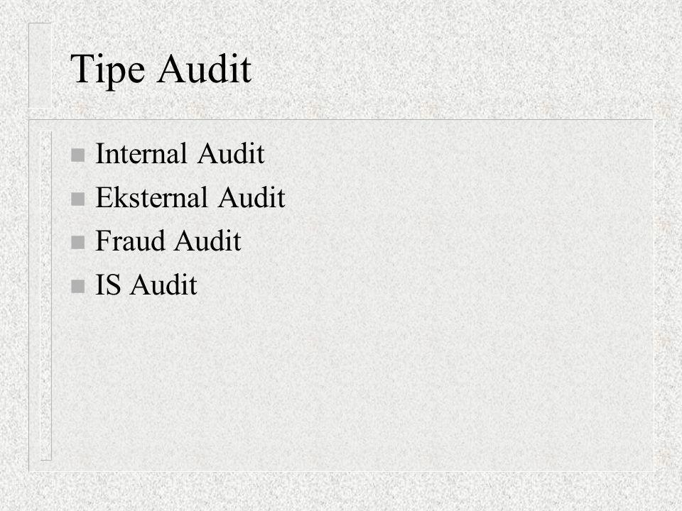 INTERNAL AUDITS  Internal auditing: fungsi penilai independen yang dibentuk dalam organisasi untuk menguji dan mengevaluasi aktivitas-aktivitas dalam organisasi  IIA (Institute of Internal Auditors), yang dilakukan:  Pemeriksaan keuangan  Evaluasi efisiensi operasi  Review kepatuhan (Compliance)  Mendeteksi kecurangan  Pemeriksaan IT  Sertifikasi:  CIA (Certified Internal Auditor)  Standar, pedoman dan sertifikasi dikelola oleh: IIA