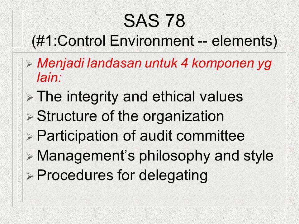 SAS 78 (#1:Control Environment -- elements)  Menjadi landasan untuk 4 komponen yg lain:  The integrity and ethical values  Structure of the organiz