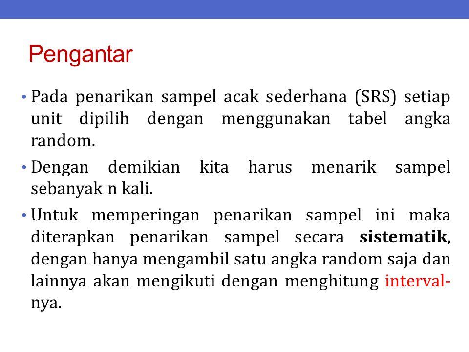Pengantar Pada penarikan sampel acak sederhana (SRS) setiap unit dipilih dengan menggunakan tabel angka random. Dengan demikian kita harus menarik sam