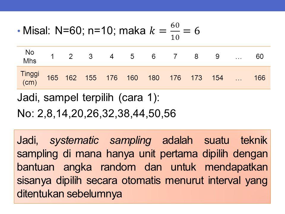Jadi, systematic sampling adalah suatu teknik sampling di mana hanya unit pertama dipilih dengan bantuan angka random dan untuk mendapatkan sisanya di