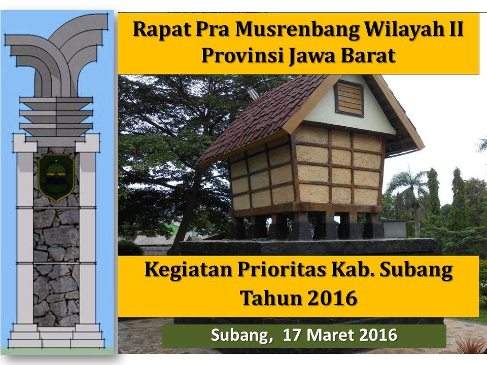 Kegiatan Prioritas Kab. Subang Tahun 2016 Subang, 17 Maret 2016 Rapat Pra Musrenbang Wilayah II Provinsi Jawa Barat