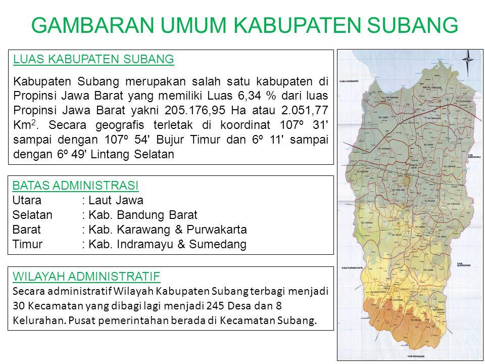 GAMBARAN UMUM KABUPATEN SUBANG LUAS KABUPATEN SUBANG Kabupaten Subang merupakan salah satu kabupaten di Propinsi Jawa Barat yang memiliki Luas 6,34 %