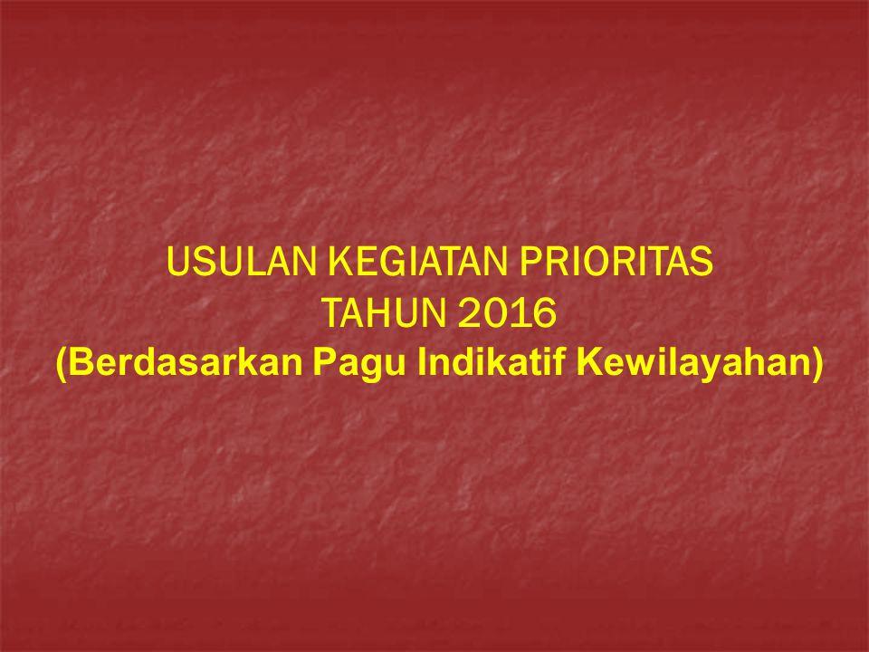USULAN KEGIATAN PRIORITAS TAHUN 2016 (Berdasarkan Pagu Indikatif Kewilayahan)