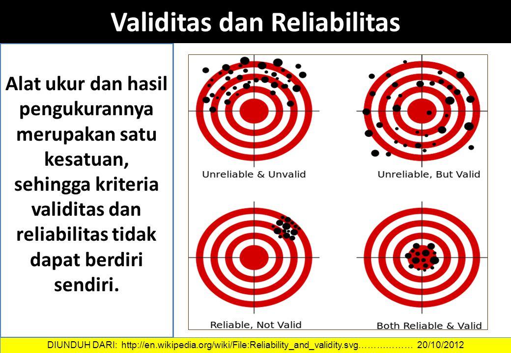 Alat ukur dan hasil pengukurannya merupakan satu kesatuan, sehingga kriteria validitas dan reliabilitas tidak dapat berdiri sendiri. Validitas dan Rel