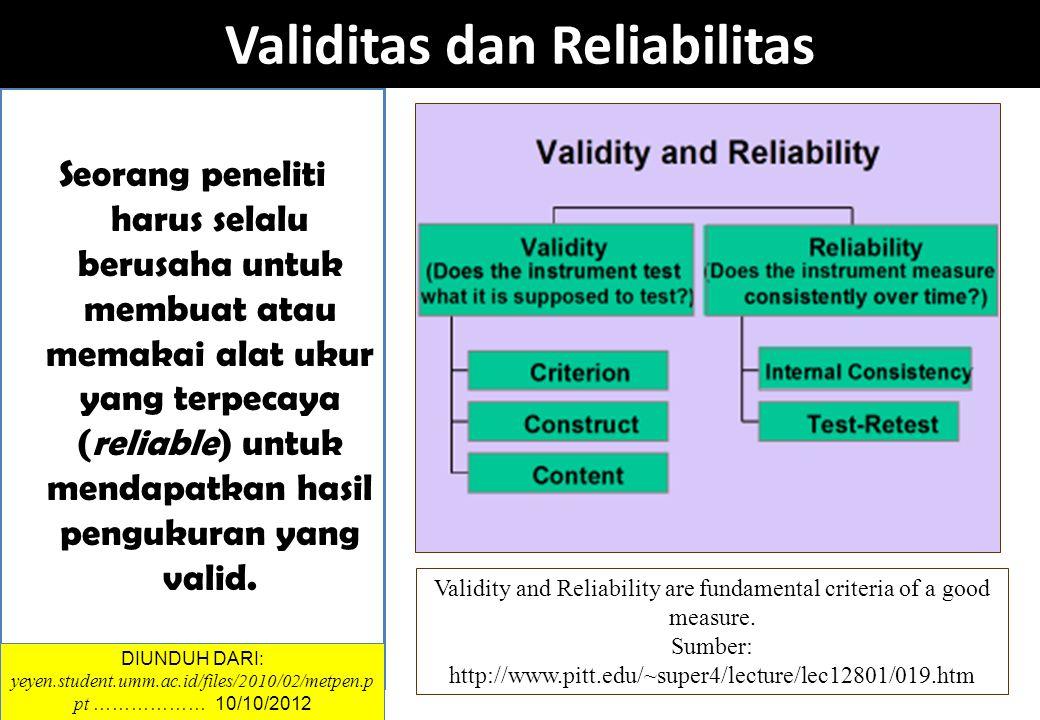 Seorang peneliti harus selalu berusaha untuk membuat atau memakai alat ukur yang terpecaya (reliable) untuk mendapatkan hasil pengukuran yang valid. V