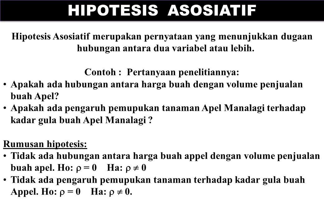 Hipotesis Asosiatif merupakan pernyataan yang menunjukkan dugaan hubungan antara dua variabel atau lebih. Contoh : Pertanyaan penelitiannya: Apakah ad
