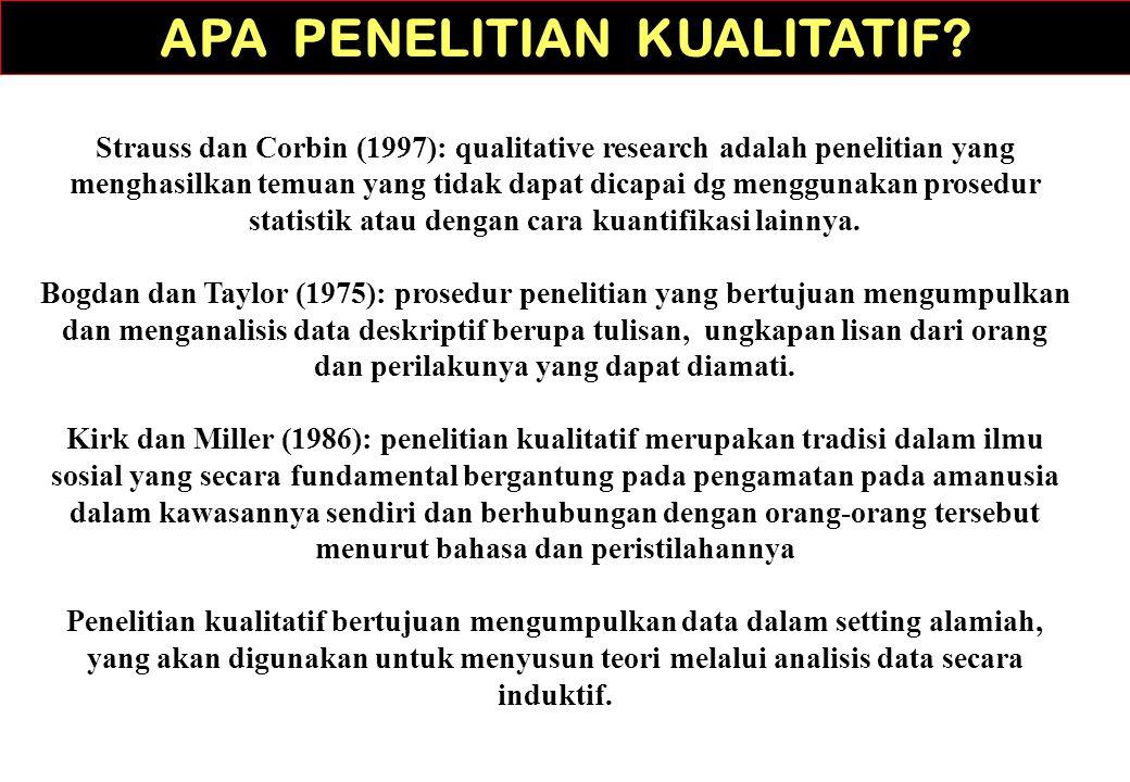Strauss dan Corbin (1997): qualitative research adalah penelitian yang menghasilkan temuan yang tidak dapat dicapai dg menggunakan prosedur statistik