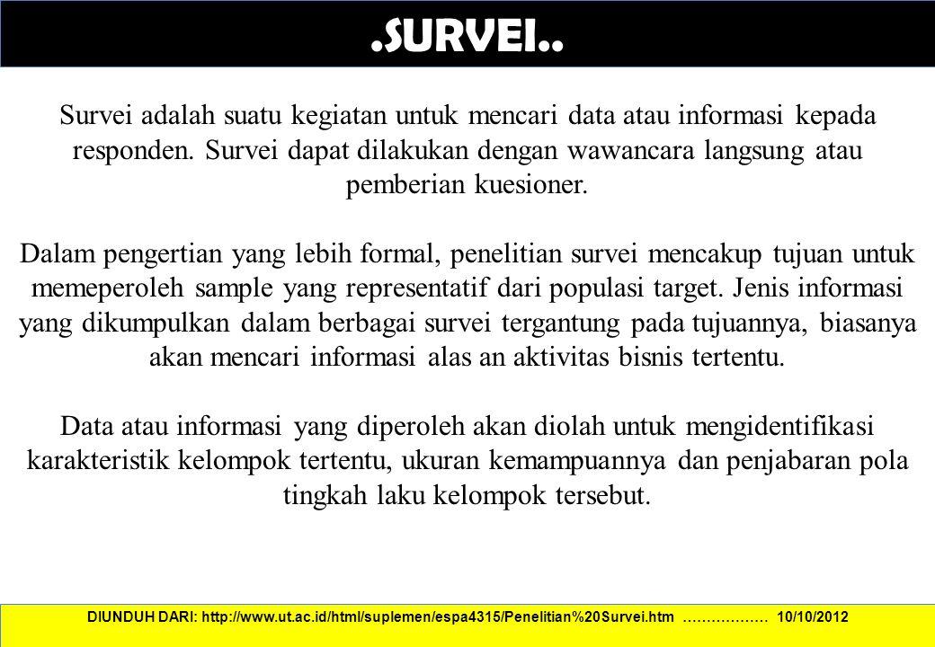 .SURVEI.. Survei adalah suatu kegiatan untuk mencari data atau informasi kepada responden. Survei dapat dilakukan dengan wawancara langsung atau pembe
