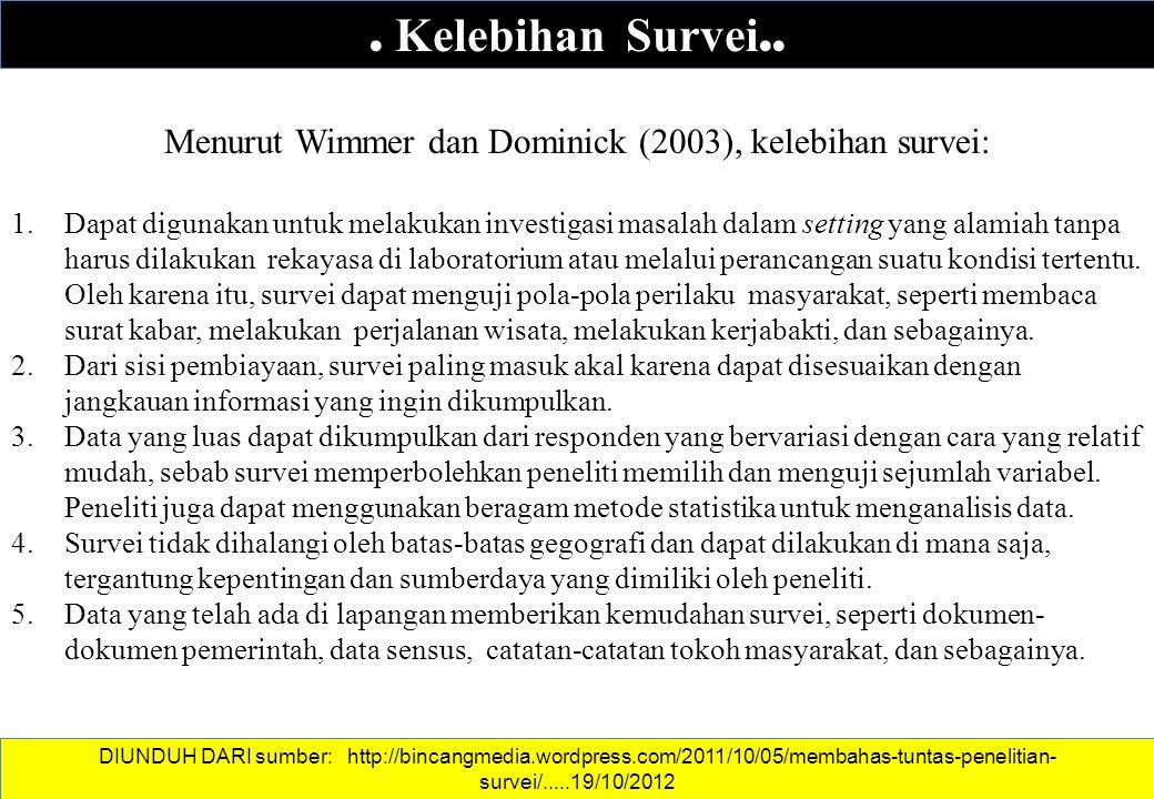 . Kelebihan Survei.. Menurut Wimmer dan Dominick (2003), kelebihan survei: 1.Dapat digunakan untuk melakukan investigasi masalah dalam setting yang al