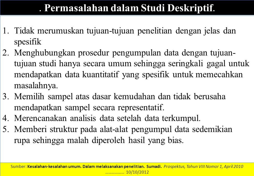 DATA DAN INFORMASI. Permasalahan dalam Studi Deskriptif. 1.Tidak merumuskan tujuan-tujuan penelitian dengan jelas dan spesifik 2.Menghubungkan prosedu