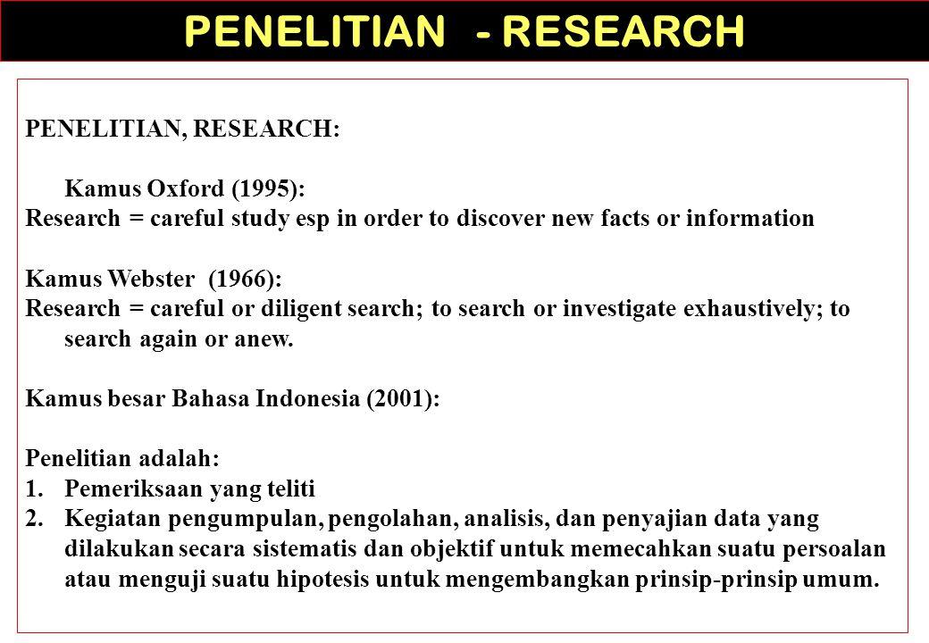 Woody (dalam Danim, 2002): Penelitian merupakan metode untuk menemukan kebenaran, disamping itu juga merupakan suatu pemikiran kritis.
