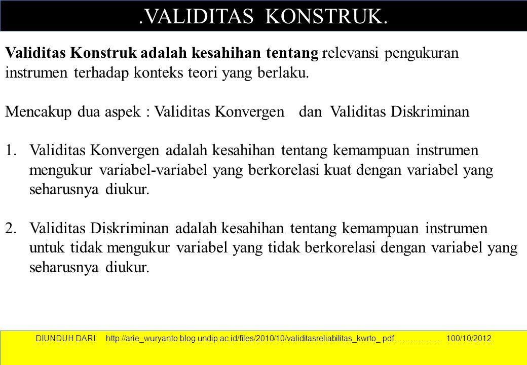 .VALIDITAS KONSTRUK. Validitas Konstruk adalah kesahihan tentang relevansi pengukuran instrumen terhadap konteks teori yang berlaku. Mencakup dua aspe