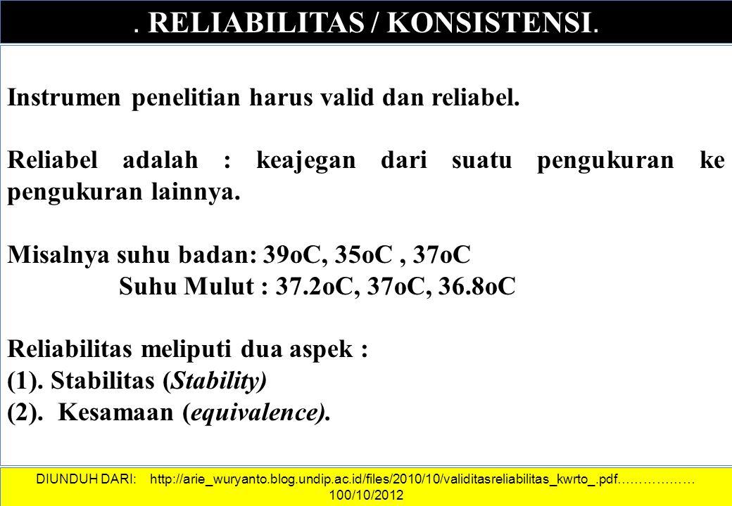 . RELIABILITAS / KONSISTENSI. Instrumen penelitian harus valid dan reliabel. Reliabel adalah : keajegan dari suatu pengukuran ke pengukuran lainnya. M