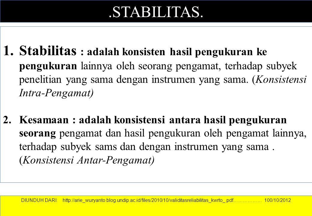 .STABILITAS. 1.Stabilitas : adalah konsisten hasil pengukuran ke pengukuran lainnya oleh seorang pengamat, terhadap subyek penelitian yang sama dengan