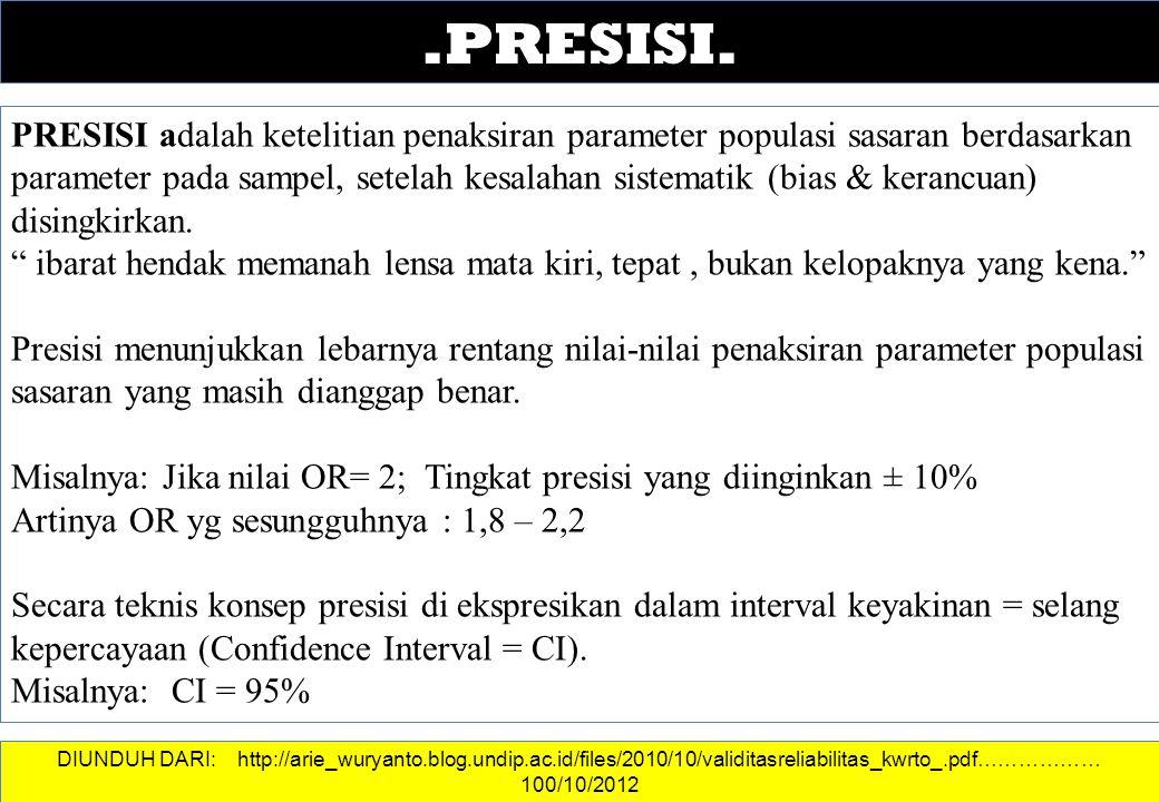 .PRESISI. PRESISI adalah ketelitian penaksiran parameter populasi sasaran berdasarkan parameter pada sampel, setelah kesalahan sistematik (bias & kera