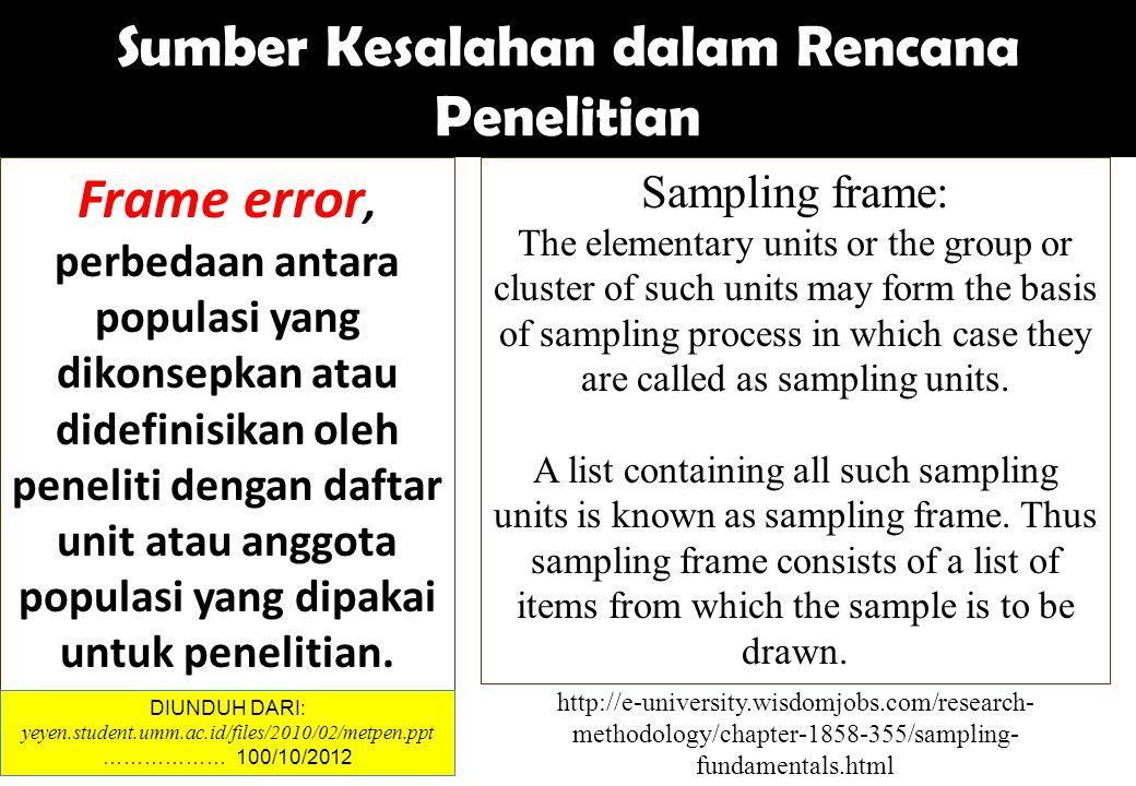 Frame error, perbedaan antara populasi yang dikonsepkan atau didefinisikan oleh peneliti dengan daftar unit atau anggota populasi yang dipakai untuk p